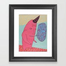 I am not a unicorn, I am not a narwhal, I am not a rhinoceros, For I am not a hero. Framed Art Print