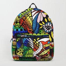 Rainbow Rhino Green Background Backpack