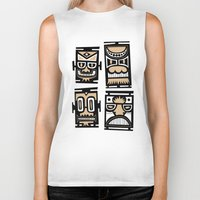 tiki Biker Tanks featuring Tiki Tiki by Ceskus