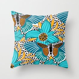 Tropical seamless pattern with exotic flowers Throw Pillow