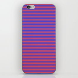 Even Horizontal Stripes, Blue and Red, XS iPhone Skin