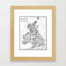 Vintage Map of The British Isles (1864) BW Framed Art Print