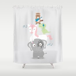 Music + kids + animal Shower Curtain