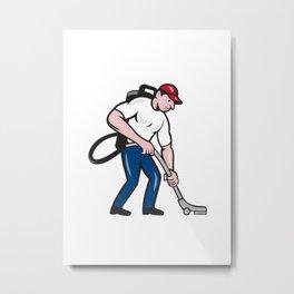 Commercial Cleaner Janitor Vacuum Cartoon Metal Print