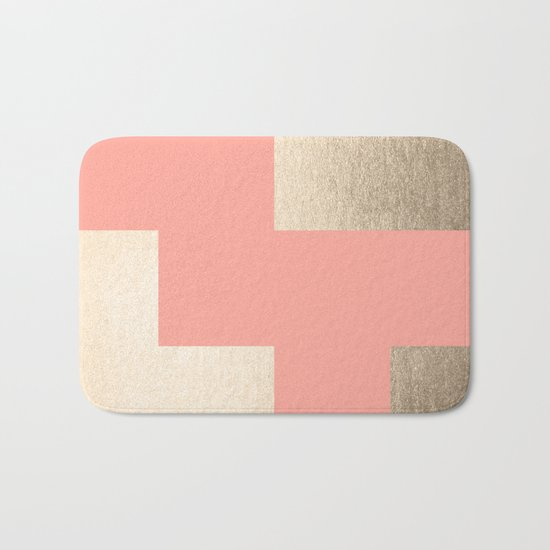 Simply Geometric White Gold Sands on Salmon Pink Bath Mat