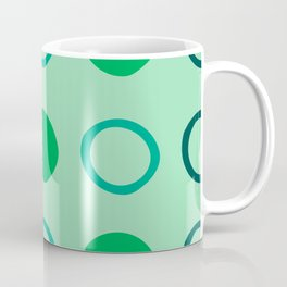 Green and Blue Dots Pattern on Soft Green 1 Coffee Mug
