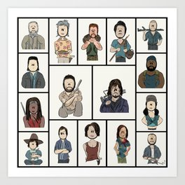 The Walking Dead 16 Character Collage Art Print