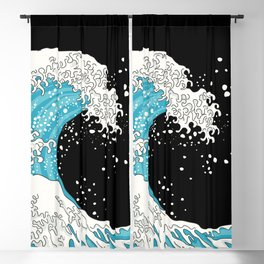 The Great Wave (night version) Blackout Curtain