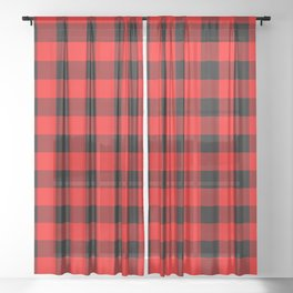 Classic Red and Black Buffalo Check Plaid Tartan Sheer Curtain