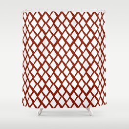 Rhombus White And Red Shower Curtain