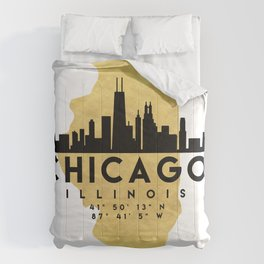 CHICAGO ILLINOIS SILHOUETTE SKYLINE MAP ART Comforters