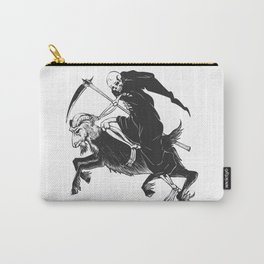Reaper grim riding a goat - black and white - gothic skull Carry-All Pouch