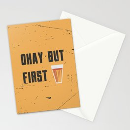 Funny Ok But First 1st Chai Tea Quote Stationery Cards