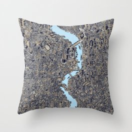 London colored map detailed drawing pen ink thames Throw Pillow