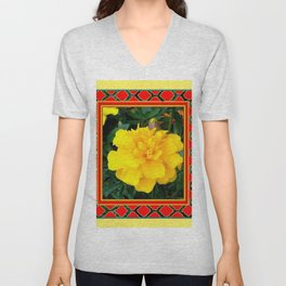 DECORATIVE TEAL-RED & YELLOW  MARIGOLD FLORAL Unisex V-Neck