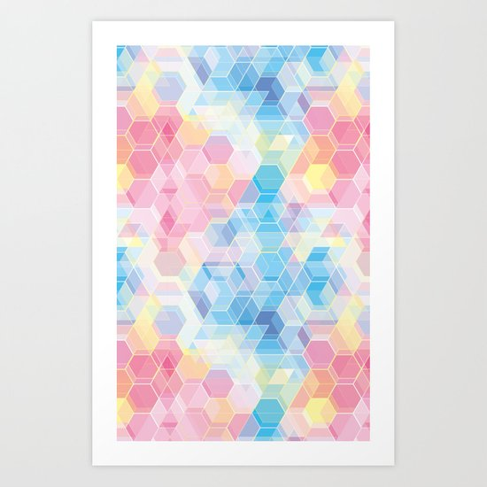 Hive: pink and blue hexagon pattern Art Print