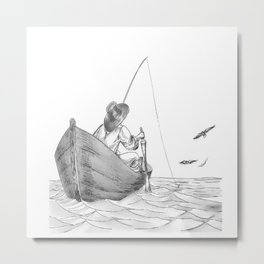 man fishing Metal Print