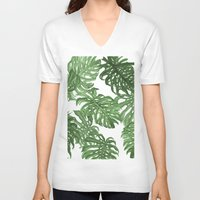 palms V-neck T-shirts featuring Monstera Deliciosa by Laura O'Connor