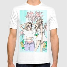 Summer vibes MEDIUM White Mens Fitted Tee