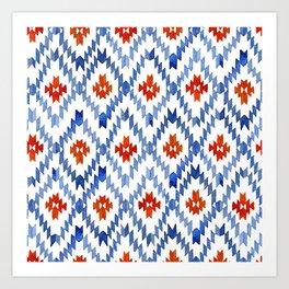 blue rhombus balinese ikat Art Print