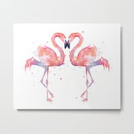 Pink Flamingo Love Two Flamingos Metal Print