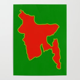 Map of Bangladesh with in red and green flag colors Poster