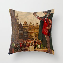 Ville de Bruxelles Travel Poster Throw Pillow