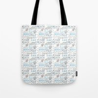 surf Tote Bags featuring Surf by Zen and Chic