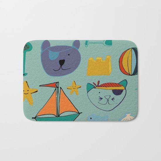 cat and bear at the beach blue green Bath Mat