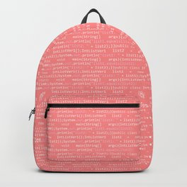 Computer Software Code Pattern in Pink Coral Backpack