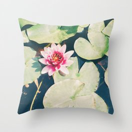 Water Lily Flower Throw Pillow