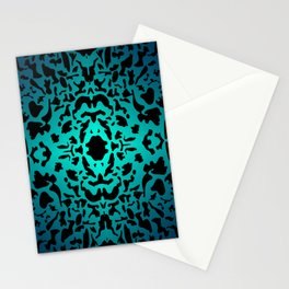 Openwork ornament of light blue spots and velvet blots on black. Stationery Cards