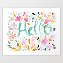 Hello - Floral Art Print