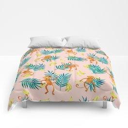 Tropical Monkey Banana Bonanza on Blush Pink Comforters
