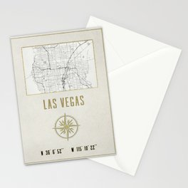 Las Vegas Nevada - Vintage Map and Location Stationery Cards