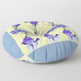 PURPLE WHITE IRIS & PANSIES GARDEN Floor Pillow