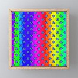 Rainbow and blue flowers Framed Mini Art Print