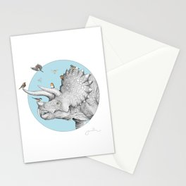 Triceratops and Birdies Stationery Cards