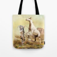 wild things Tote Bags featuring Wild Things by Trudi Simmonds