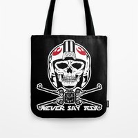 jedi Tote Bags featuring Doomies Never Say Jedi by Ant Atomic