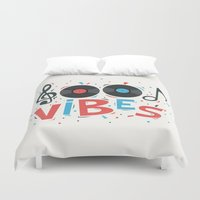 good vibes Duvet Covers featuring Good Vibes by Word Quirk