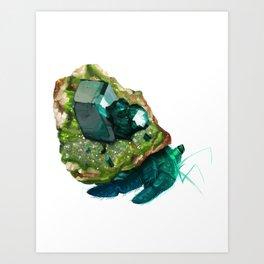 Dioptase on Quartz Mineral Crab Art Print