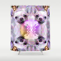 chihuahua Shower Curtains featuring CHIHUAHUA by Riot Clothing