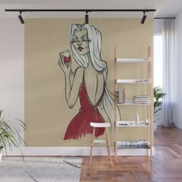 Red wine, red dress Wall Mural