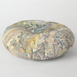 Landscape at Saint-Rémy by Vincent van Gogh Floor Pillow