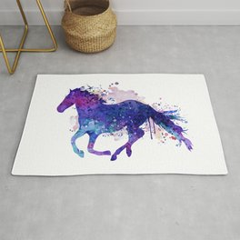 Running Horse Watercolor Silhouette Rug