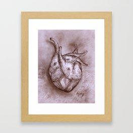 elephant and heart Framed Art Print