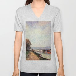 View Of Rouen 1883 By Camille Pissarro | Reproduction | Impressionism Painter Unisex V-Neck