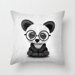Cute Panda Bear Cub with Eye Glasses Throw Pillow