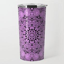 Mandala Project 234   Pink Filigree & Hearts Travel Mug
